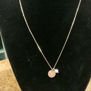 Sterling Silver Coin & Pearl Necklace